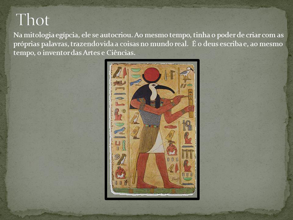 Na mitologia egípcia, ele se autocriou. Ao mesmo tempo, tinha o poder de criar com as próprias palavras, trazendo vida a coisas no mundo real. É o deu