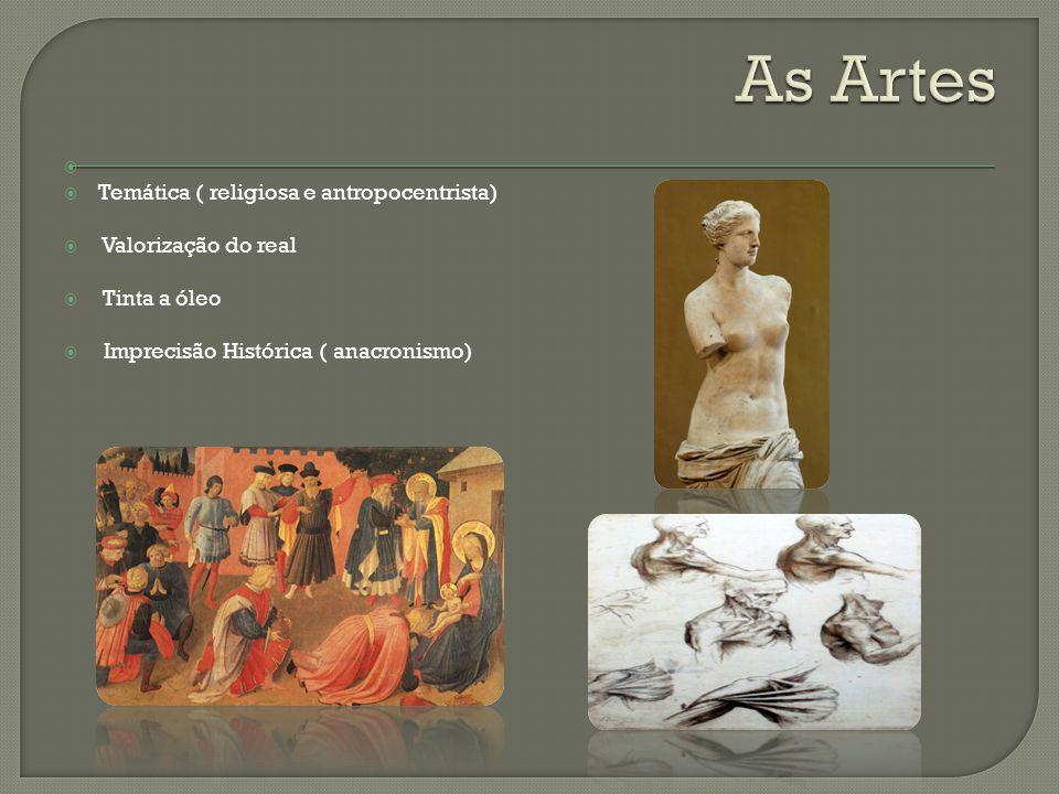 Temática ( religiosa e antropocentrista) Valorização do real Tinta a óleo Imprecisão Histórica ( anacronismo)