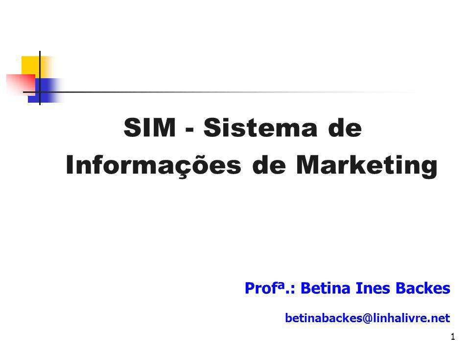 1 SIM - Sistema de Informações de Marketing Profª.: Betina Ines Backes betinabackes@linhalivre.net