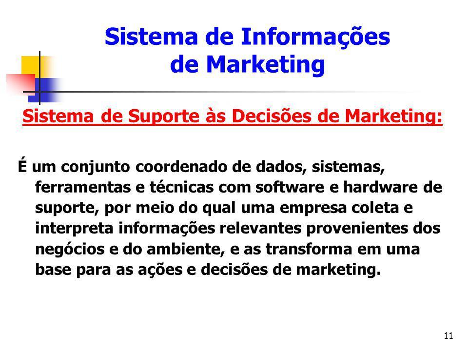 11 Sistema de Suporte às Decisões de Marketing: É um conjunto coordenado de dados, sistemas, ferramentas e técnicas com software e hardware de suporte
