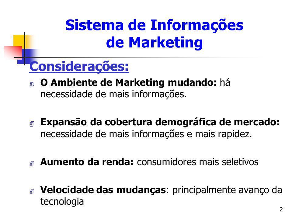 2 Considerações: 4 O Ambiente de Marketing mudando: há necessidade de mais informações. 4 Expansão da cobertura demográfica de mercado: necessidade de