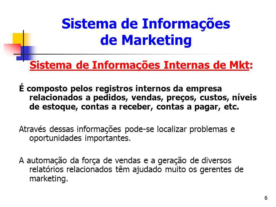 6 Sistema de Informações Internas de Mkt: É composto pelos registros internos da empresa relacionados a pedidos, vendas, preços, custos, níveis de est
