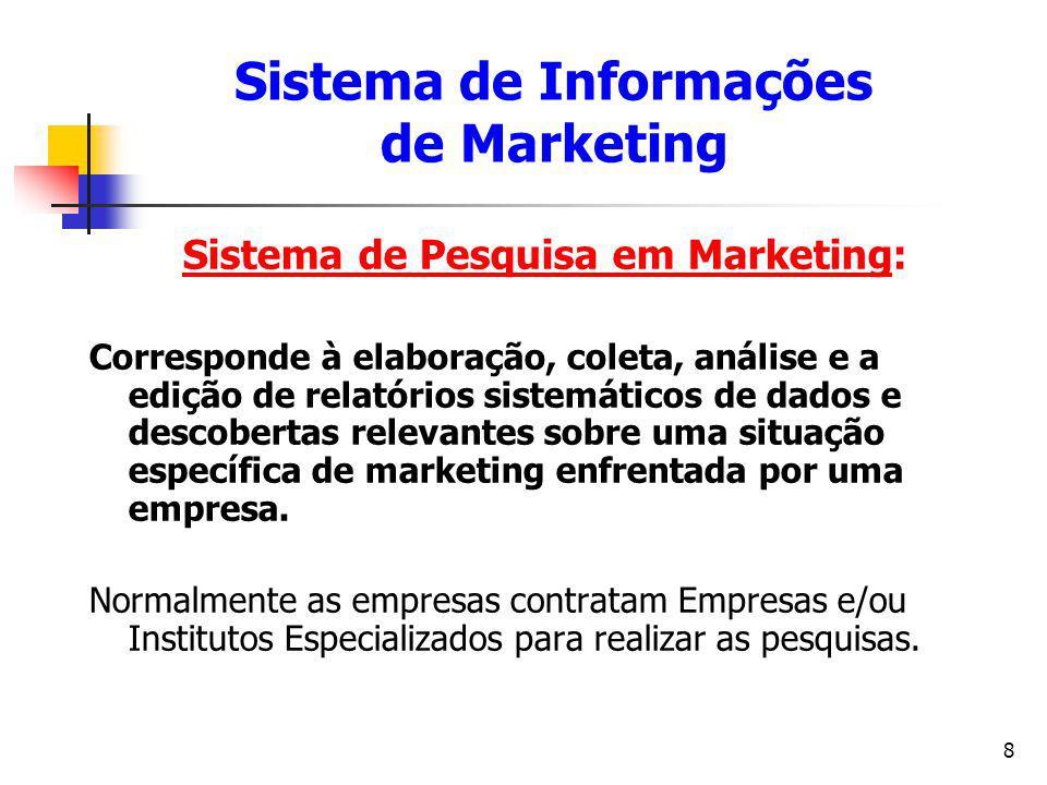 9 Sistema de Pesquisa em Marketing: Pesquisa de mercado, teste de preferência de produto, previsão de vendas e avaliação de uma propaganda são alguns exemplos de utilização da Pesquisa em Marketing.