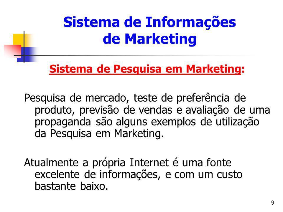 9 Sistema de Pesquisa em Marketing: Pesquisa de mercado, teste de preferência de produto, previsão de vendas e avaliação de uma propaganda são alguns