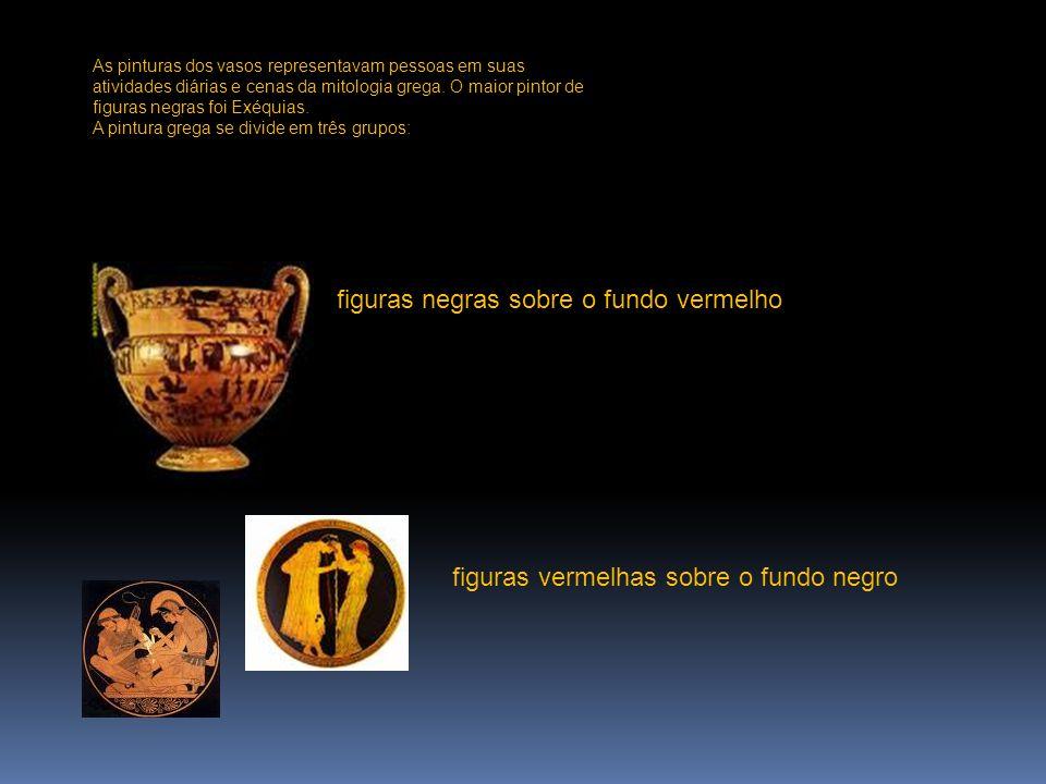 As pinturas dos vasos representavam pessoas em suas atividades diárias e cenas da mitologia grega. O maior pintor de figuras negras foi Exéquias. A pi
