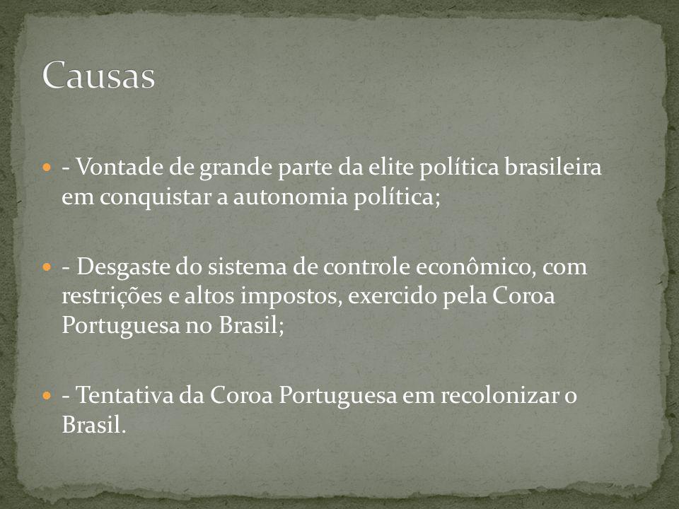 - Vontade de grande parte da elite política brasileira em conquistar a autonomia política; - Desgaste do sistema de controle econômico, com restrições