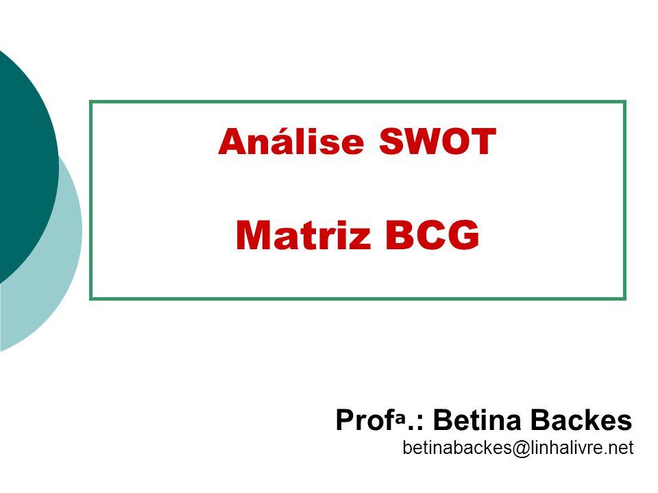 Análise SWOT Matriz BCG Prof ª. : Betina Backes betinabackes@linhalivre.net