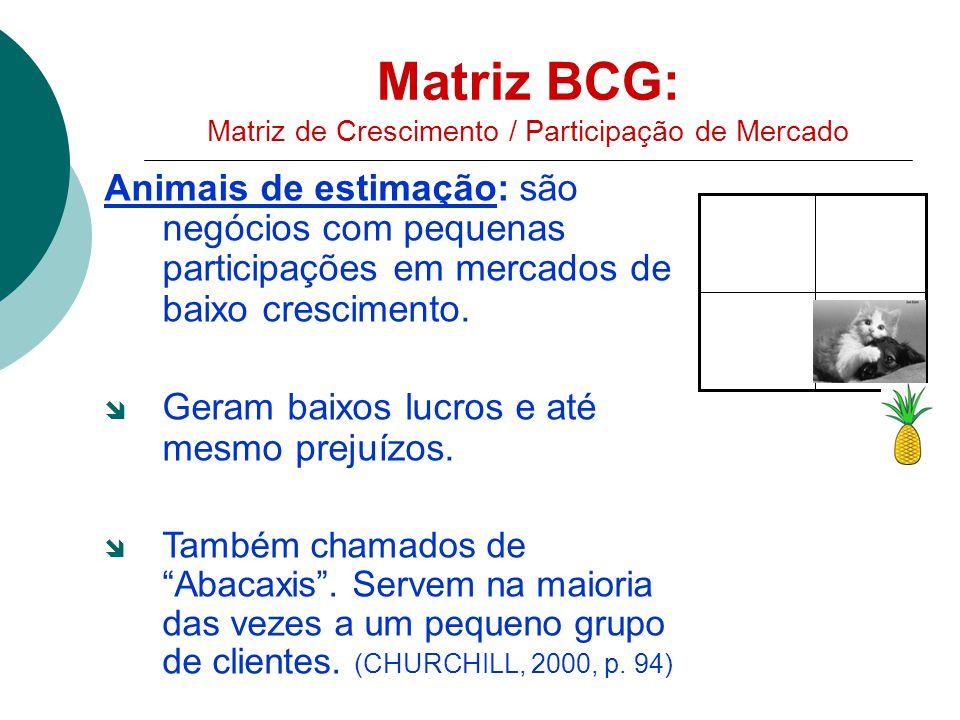Matriz BCG: Matriz de Crescimento / Participação de Mercado Animais de estimação: são negócios com pequenas participações em mercados de baixo crescimento.