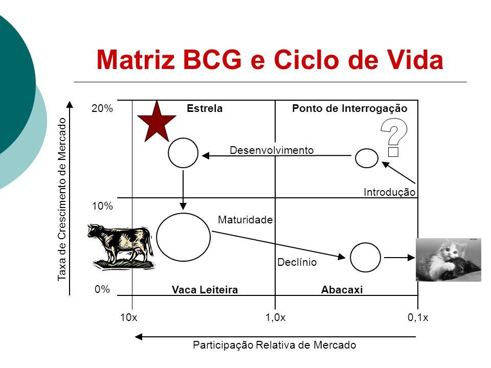 Matriz BCG e Ciclo de Vida 20% Desenvolvimento 10% Declínio 0% 10x1,0x0,1x Participação Relativa de Mercado Taxa de Crescimento de Mercado EstrelaPonto de Interrogação Vaca LeiteiraAbacaxi Introdução Maturidade