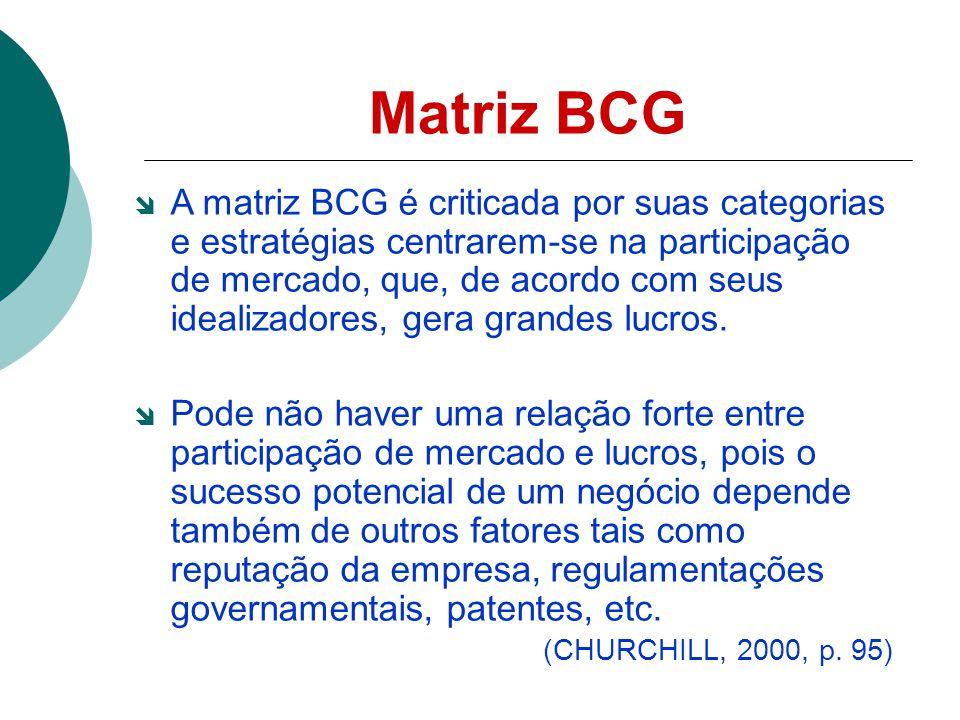 Matriz BCG A matriz BCG é criticada por suas categorias e estratégias centrarem-se na participação de mercado, que, de acordo com seus idealizadores, gera grandes lucros.