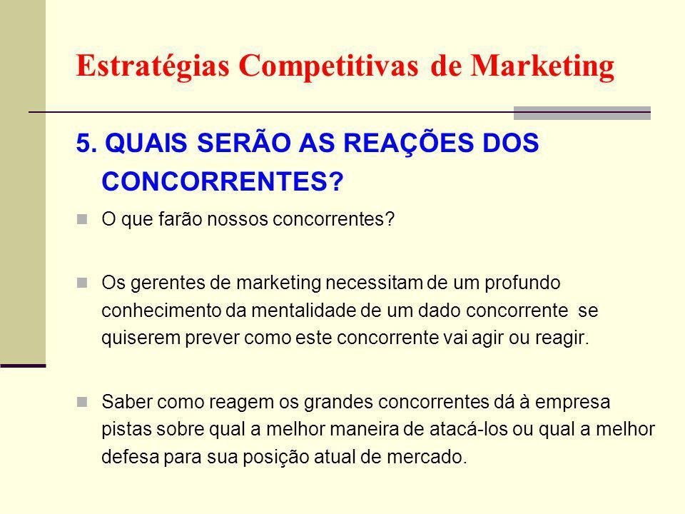 Estratégias Competitivas de Marketing 5.QUAIS SERÃO AS REAÇÕES DOS CONCORRENTES.