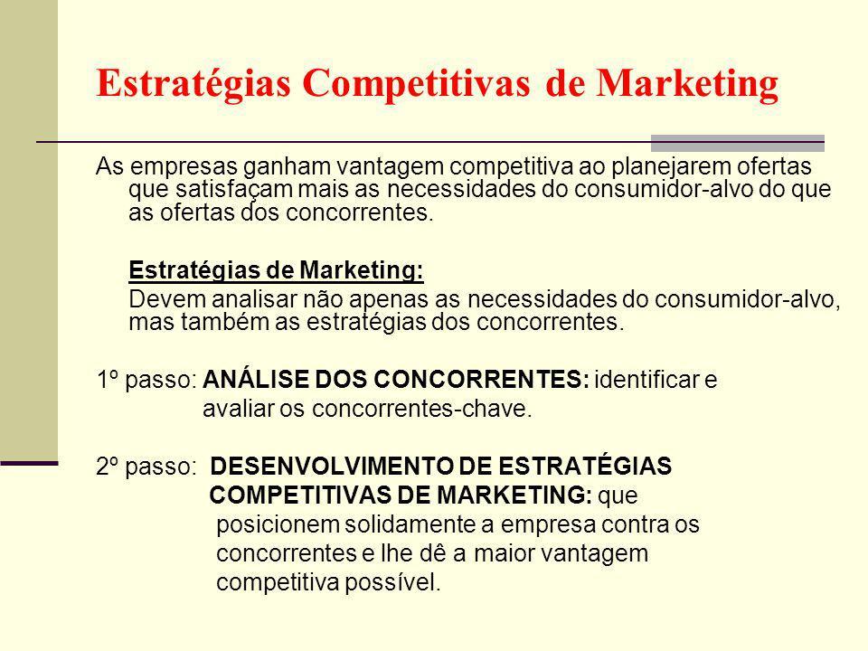 Estratégias Competitivas de Marketing As empresas ganham vantagem competitiva ao planejarem ofertas que satisfaçam mais as necessidades do consumidor-alvo do que as ofertas dos concorrentes.