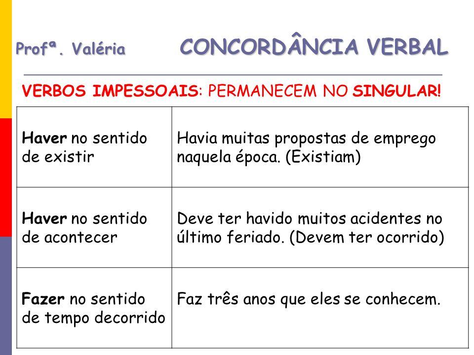 Profª.Valéria CONCORDÂNCIA VERBAL VERBOS IMPESSOAIS: PERMANECEM NO SINGULAR.