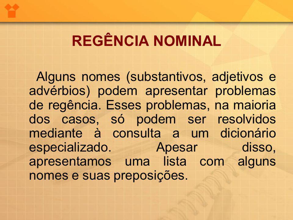 REGÊNCIA NOMINAL Alguns nomes (substantivos, adjetivos e advérbios) podem apresentar problemas de regência.