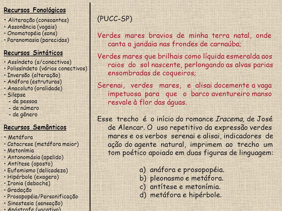 Recursos Fonológicos Aliteração (consoantes) Assonância (vogais) Onomatopéia (sons) Paranomasia (parecidas) Recursos Sintáticos Assíndeto (s/conectivos) Polissíndeto (vários conectivos) Inversão (alteração) Anáfora (estruturas) Anacoluto (oralidade) Silepse - de pessoa - de número - de gênero Recursos Semânticos Metáfora Catacrese (metáfora maior) Metonímia Antonomásia (apelido) Antítese (oposto) Eufemismo (delicadeza) Hipérbole (exagero) Ironia (deboche) Gradação Prosopopéia/Personificação Sinestesia (sensação) Apóstrofe (vocativo) (UFSCar-SP) Assinale a alternativa que contém um trecho extraído de Gabriela, cravo e canela, obra de Jorge Amado, em que o autor apresenta as informações numa linguagem altamente conotativa.