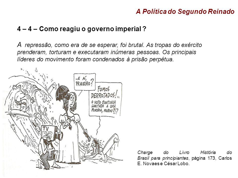 4 – 4 – Como reagiu o governo imperial .A repressão, como era de se esperar, foi brutal.