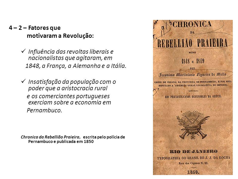 4 – 2 – Fatores que motivaram a Revolução: Influência das revoltas liberais e nacionalistas que agitaram, em 1848, a França, a Alemanha e a Itália.