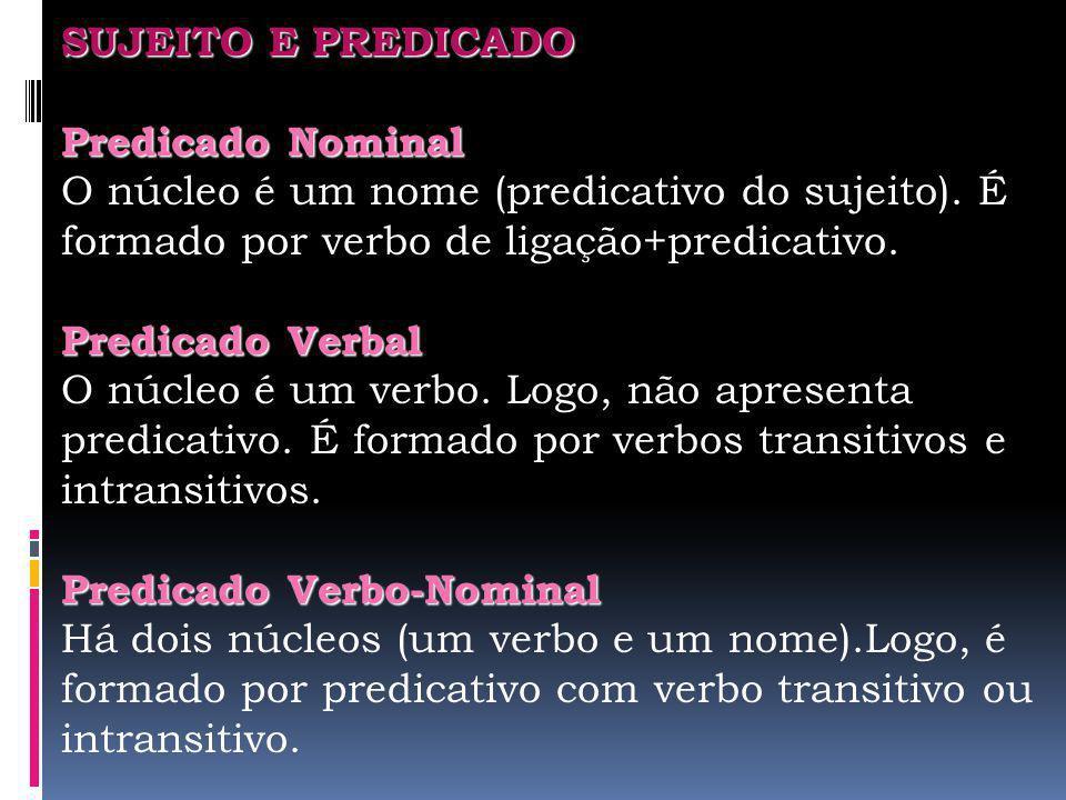 SUJEITO E PREDICADO Predicado Nominal O núcleo é um nome (predicativo do sujeito). É formado por verbo de ligação+predicativo. Predicado Verbal O núcl