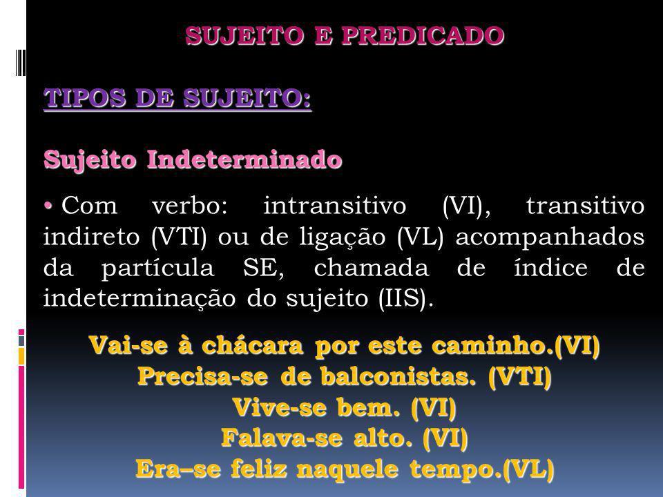 SUJEITO E PREDICADO TIPOS DE SUJEITO: Sujeito Indeterminado Com verbo: intransitivo (VI), transitivo indireto (VTI) ou de ligação (VL) acompanhados da
