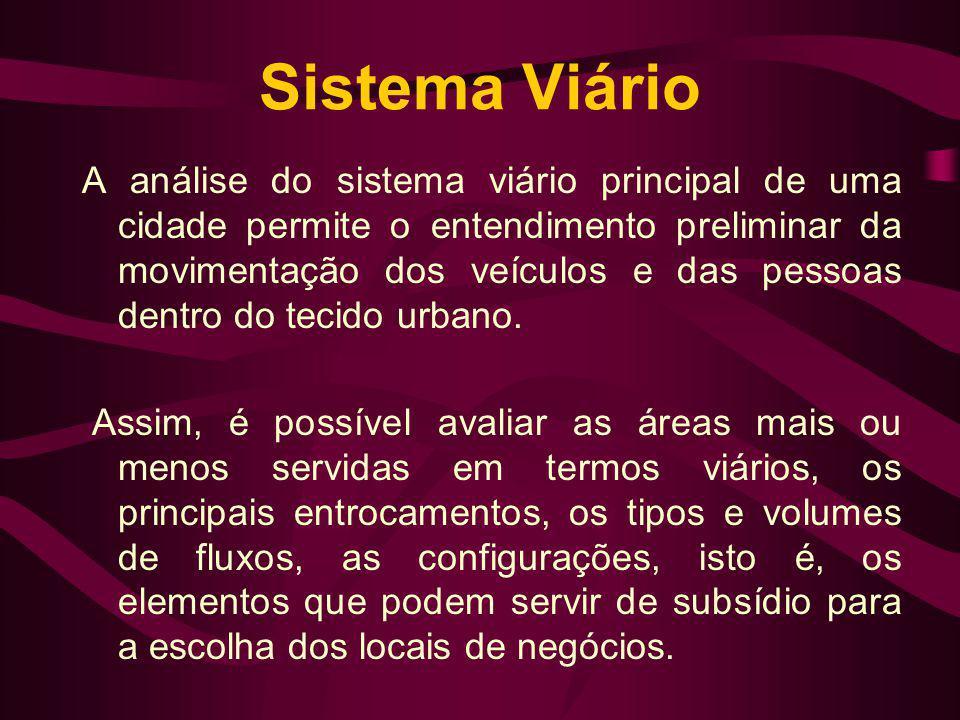 Sistema Viário A análise do sistema viário principal de uma cidade permite o entendimento preliminar da movimentação dos veículos e das pessoas dentro