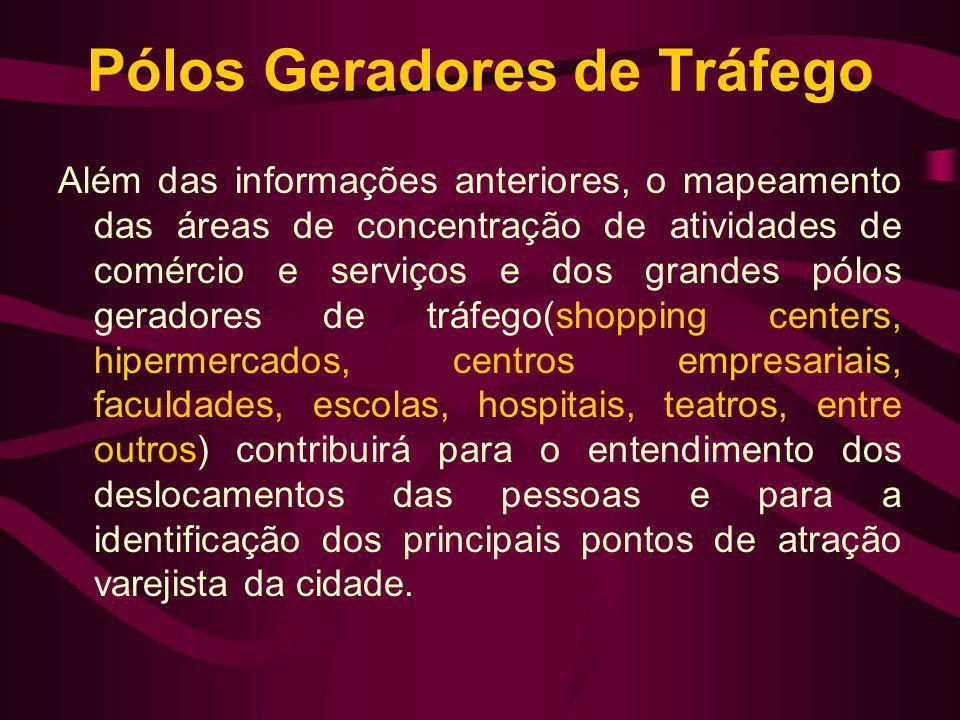 Pólos Geradores de Tráfego Além das informações anteriores, o mapeamento das áreas de concentração de atividades de comércio e serviços e dos grandes