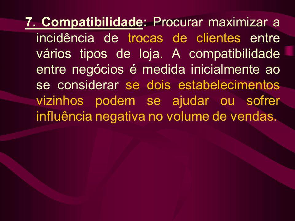 7. Compatibilidade: Procurar maximizar a incidência de trocas de clientes entre vários tipos de loja. A compatibilidade entre negócios é medida inicia
