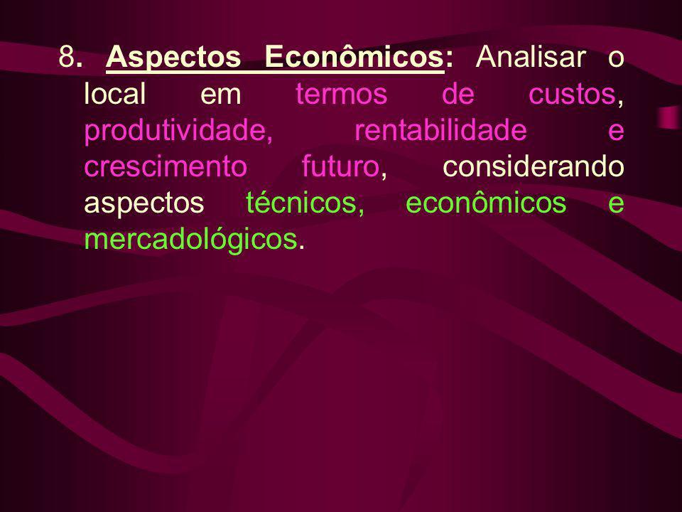 8. Aspectos Econômicos: Analisar o local em termos de custos, produtividade, rentabilidade e crescimento futuro, considerando aspectos técnicos, econô