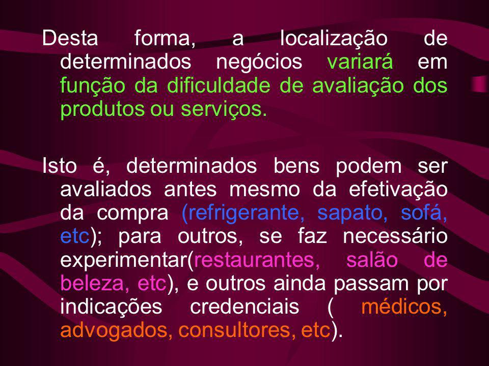 Desta forma, a localização de determinados negócios variará em função da dificuldade de avaliação dos produtos ou serviços. Isto é, determinados bens