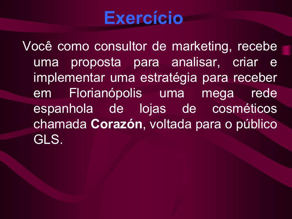 Exercício Você como consultor de marketing, recebe uma proposta para analisar, criar e implementar uma estratégia para receber em Florianópolis uma me