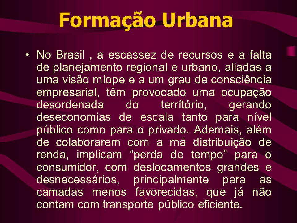 Formação Urbana No Brasil, a escassez de recursos e a falta de planejamento regional e urbano, aliadas a uma visão míope e a um grau de consciência em