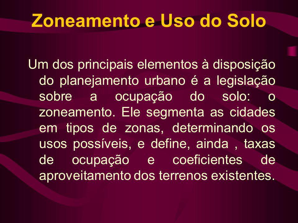Zoneamento e Uso do Solo Um dos principais elementos à disposição do planejamento urbano é a legislação sobre a ocupação do solo: o zoneamento. Ele se