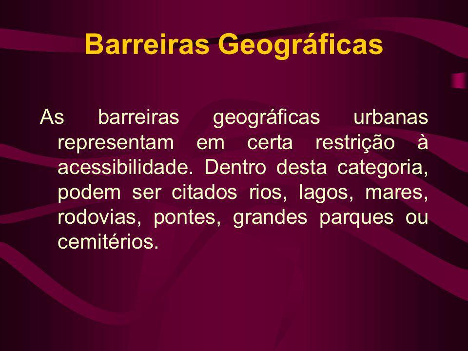 Barreiras Geográficas As barreiras geográficas urbanas representam em certa restrição à acessibilidade. Dentro desta categoria, podem ser citados rios