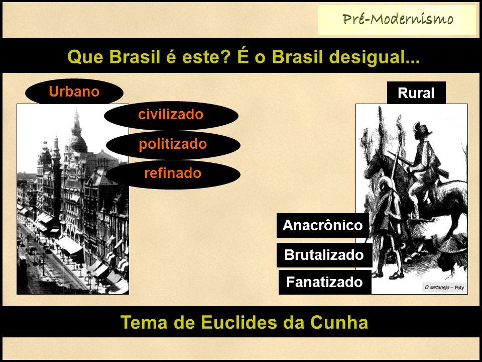 Pré-Modernismo Que Brasil é este? É o Brasil desigual... Rural Urbano civilizado politizado refinado Anacrônico Brutalizado Fanatizado Tema de Euclide