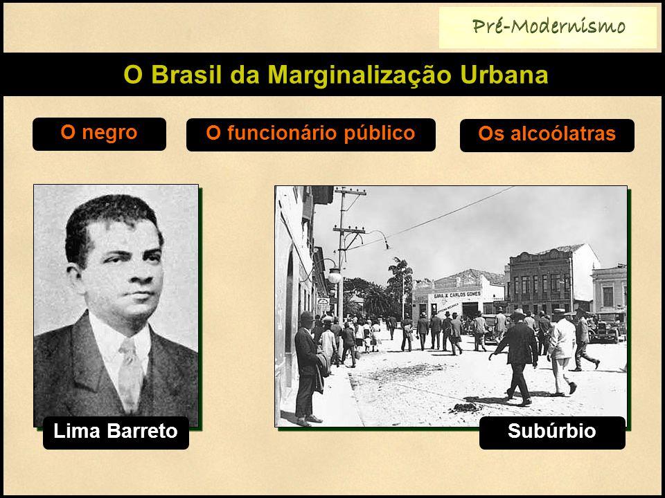 Pré-Modernismo O Brasil da Marginalização Urbana O negro O funcionário público Os alcoólatras Lima Barreto Subúrbio