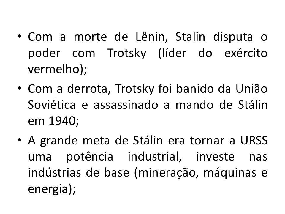 Com a morte de Lênin, Stalin disputa o poder com Trotsky (líder do exército vermelho); Com a derrota, Trotsky foi banido da União Soviética e assassin