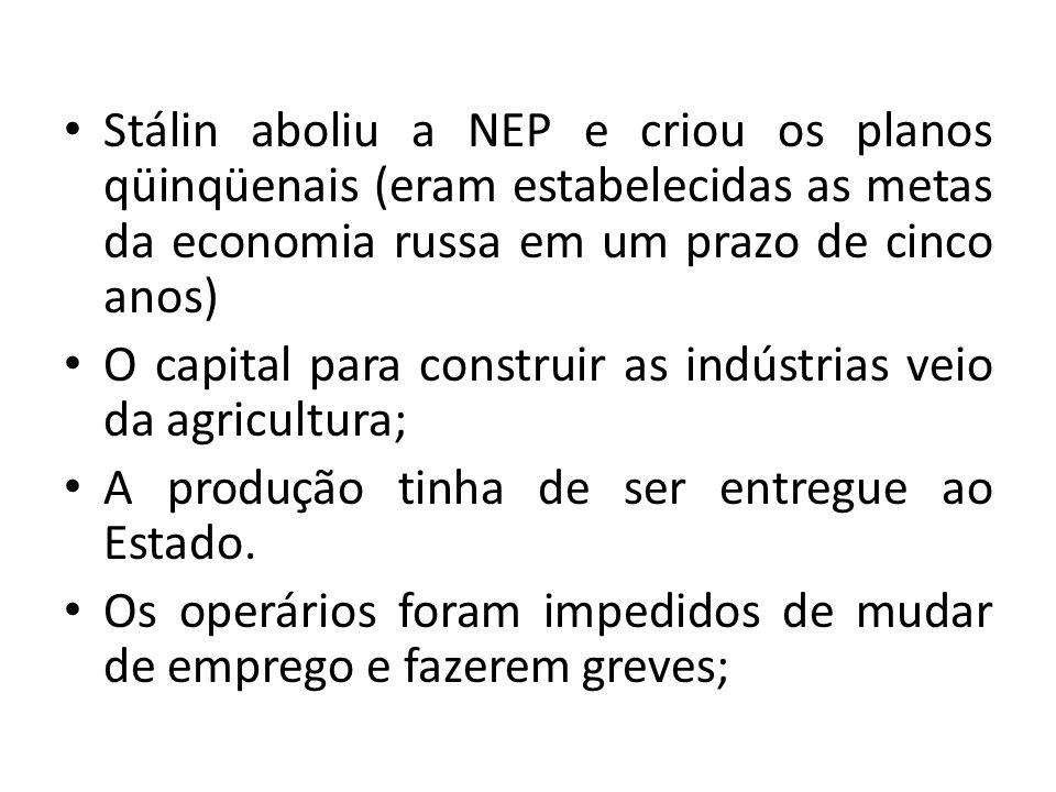 Stálin aboliu a NEP e criou os planos qüinqüenais (eram estabelecidas as metas da economia russa em um prazo de cinco anos) O capital para construir a