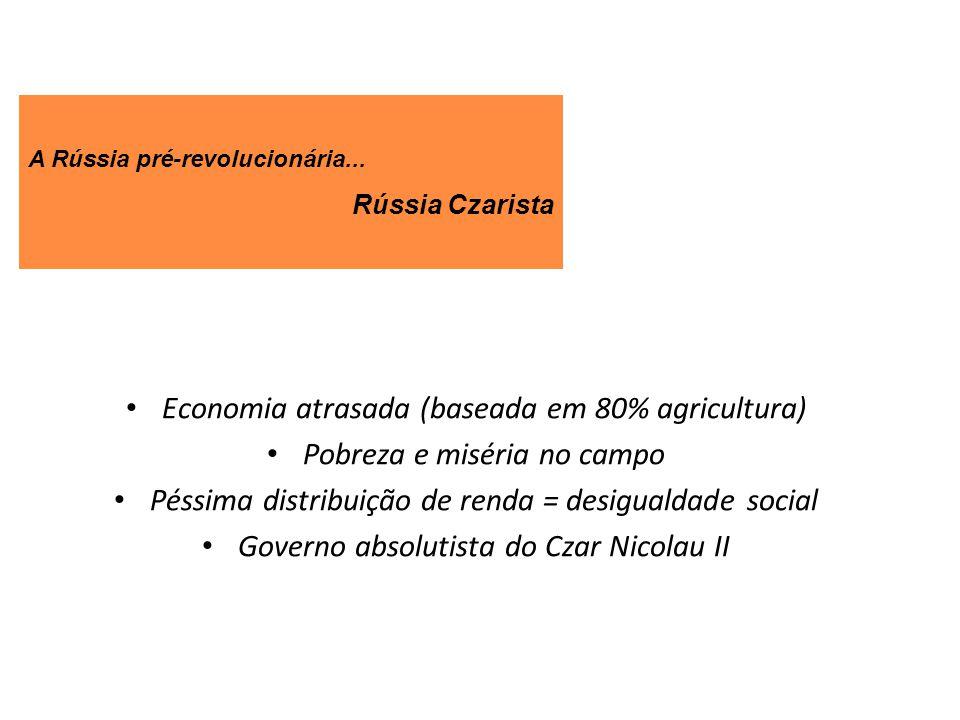 Economia atrasada (baseada em 80% agricultura) Pobreza e miséria no campo Péssima distribuição de renda = desigualdade social Governo absolutista do C