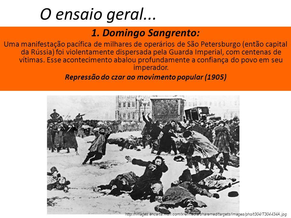O ensaio geral... 1. Domingo Sangrento: Uma manifestação pacífica de milhares de operários de São Petersburgo (então capital da Rússia) foi violentame