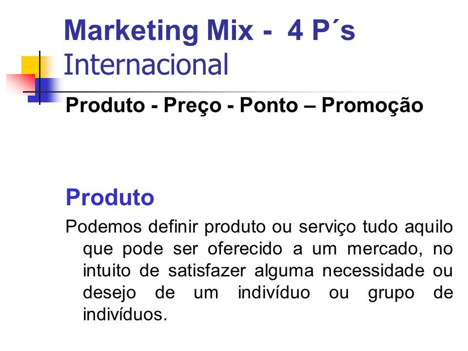 Marketing Mix - 4 P´s Internacional Produto - Preço - Ponto – Promoção Produto Podemos definir produto ou serviço tudo aquilo que pode ser oferecido a um mercado, no intuito de satisfazer alguma necessidade ou desejo de um indivíduo ou grupo de indivíduos.