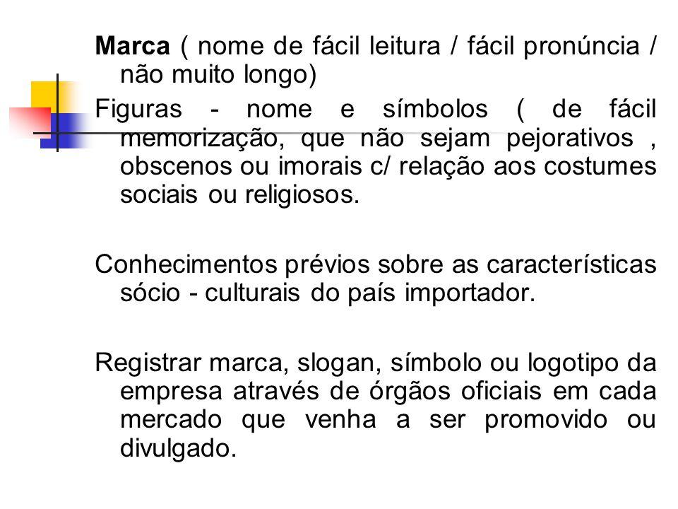 Marca ( nome de fácil leitura / fácil pronúncia / não muito longo) Figuras - nome e símbolos ( de fácil memorização, que não sejam pejorativos, obscenos ou imorais c/ relação aos costumes sociais ou religiosos.