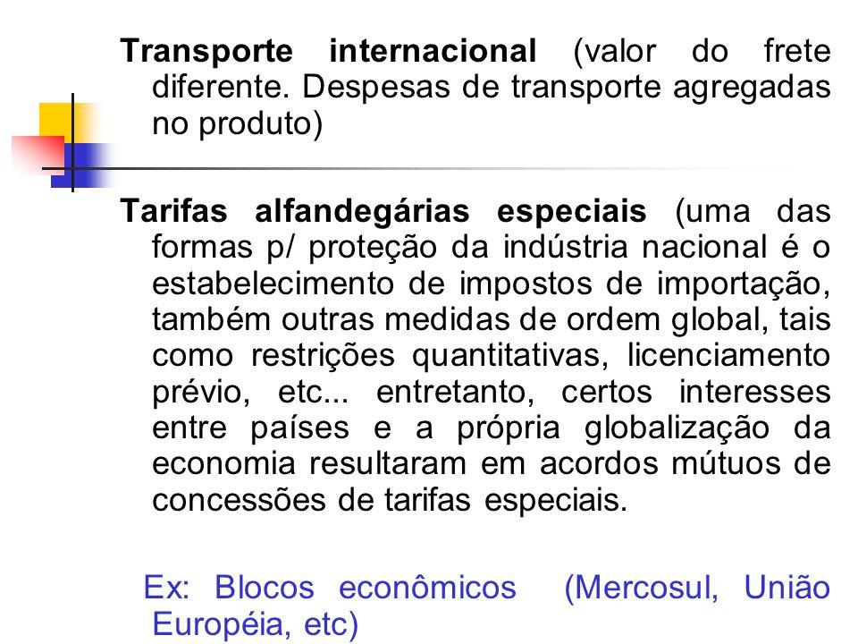 Transporte internacional (valor do frete diferente.