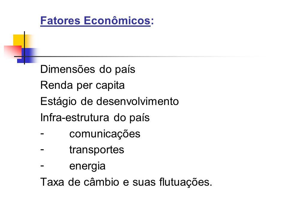 Fatores Econômicos: Dimensões do país Renda per capita Estágio de desenvolvimento Infra-estrutura do país - comunicações - transportes - energia Taxa de câmbio e suas flutuações.