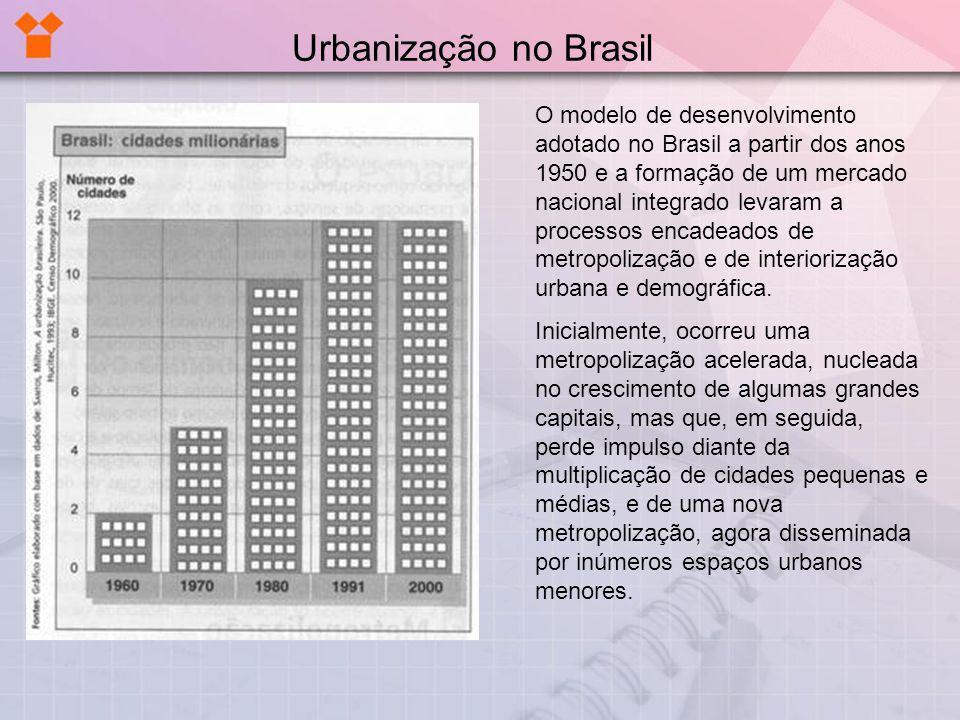 O modelo de desenvolvimento adotado no Brasil a partir dos anos 1950 e a formação de um mercado nacional integrado levaram a processos encadeados de m