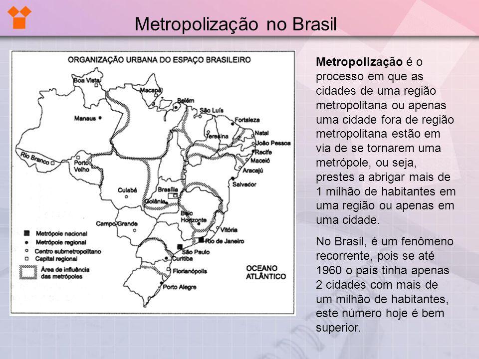 Metropolização no Brasil Metropolização é o processo em que as cidades de uma região metropolitana ou apenas uma cidade fora de região metropolitana e