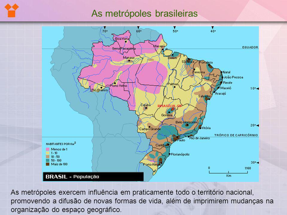 As metrópoles exercem influência em praticamente todo o território nacional, promovendo a difusão de novas formas de vida, além de imprimirem mudanças
