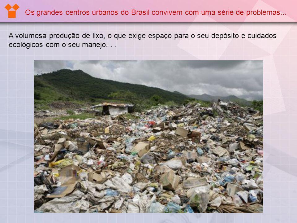 Os grandes centros urbanos do Brasil convivem com uma série de problemas... A volumosa produção de lixo, o que exige espaço para o seu depósito e cuid