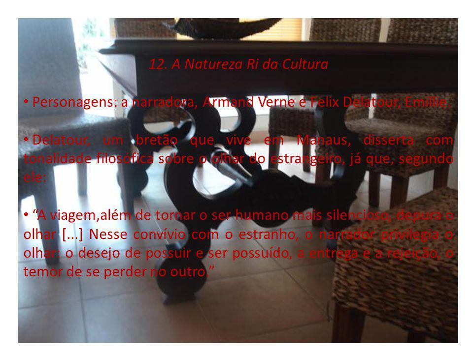 12. A Natureza Ri da Cultura Personagens: a narradora, Armand Verne e Felix Delatour, Emillie. Delatour, um bretão que vive em Manaus, disserta com to