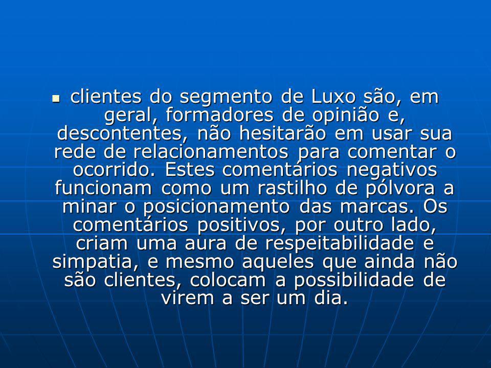 clientes do segmento de Luxo são, em geral, formadores de opinião e, descontentes, não hesitarão em usar sua rede de relacionamentos para comentar o o
