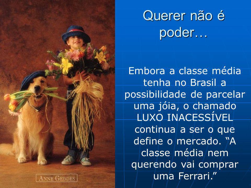 Querer não é poder… Embora a classe média tenha no Brasil a possibilidade de parcelar uma jóia, o chamado LUXO INACESSÍVEL continua a ser o que define