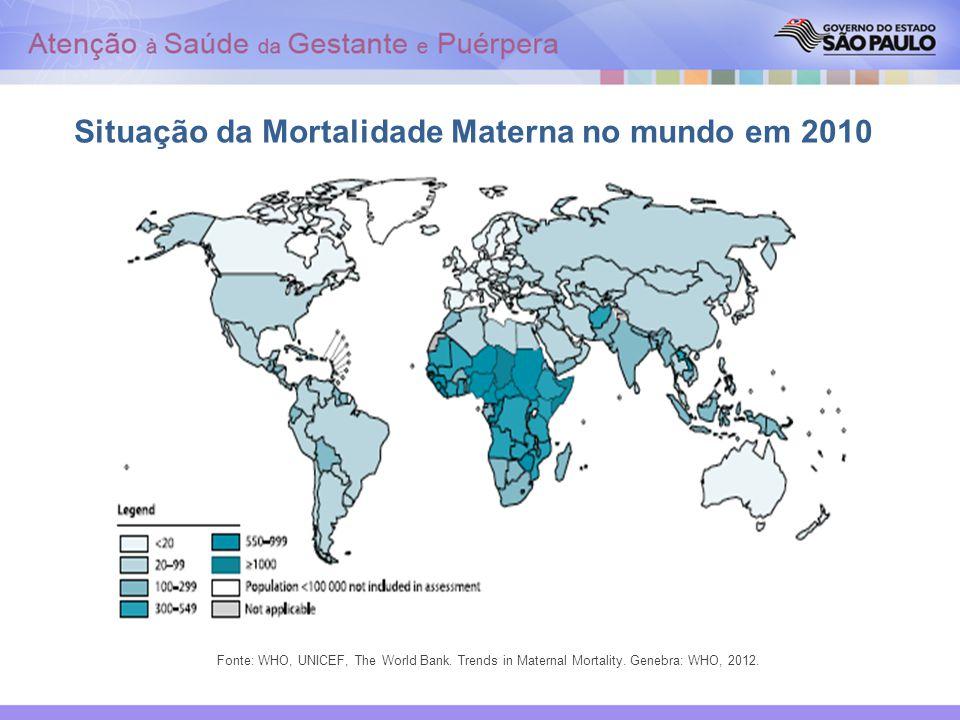 Situação da Mortalidade Materna no mundo em 2010 Fonte: WHO, UNICEF, The World Bank. Trends in Maternal Mortality. Genebra: WHO, 2012.
